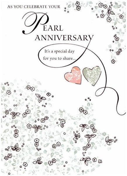 Anniversary Card - 30th Pearl Anniversary - Floral Border