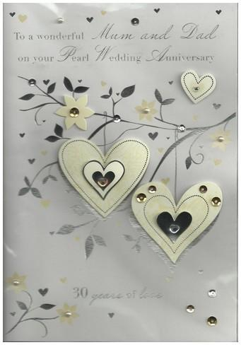 Anniversary Card - 30th Pearl Anniversary Mum & Dad - Pearl Hearts