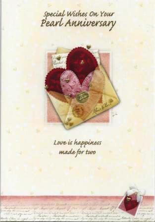 Anniversary Card - 30th Pearl Anniversary - Love Heart Letter
