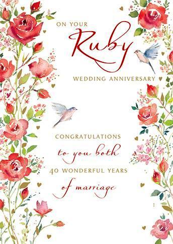 Anniversary Card - 40th Ruby Anniversary - Red Roses