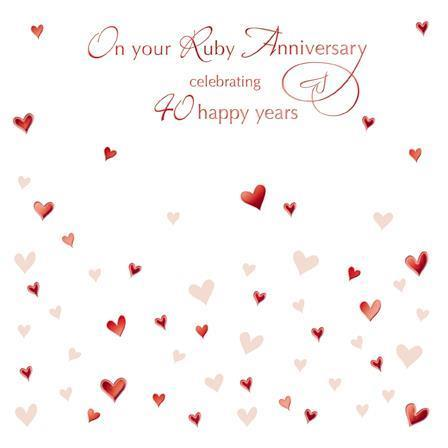 Anniversary Card - 40th Ruby Anniversary - Anniversary Hearts