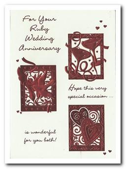 Anniversary Card - 40th Ruby Anniversary - Champagne Love Birds Hearts