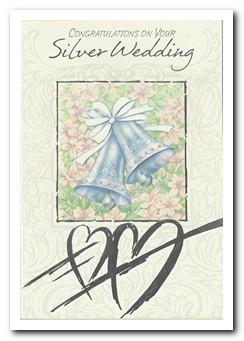 Anniversary Card - 25th Silver Anniversary - Silver Bells