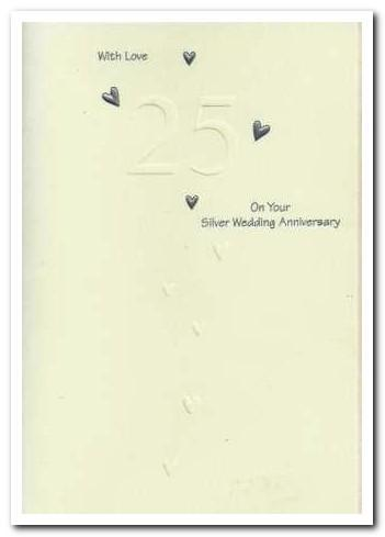 Anniversary Card - 25th Silver Anniversary - Cascading Hearts