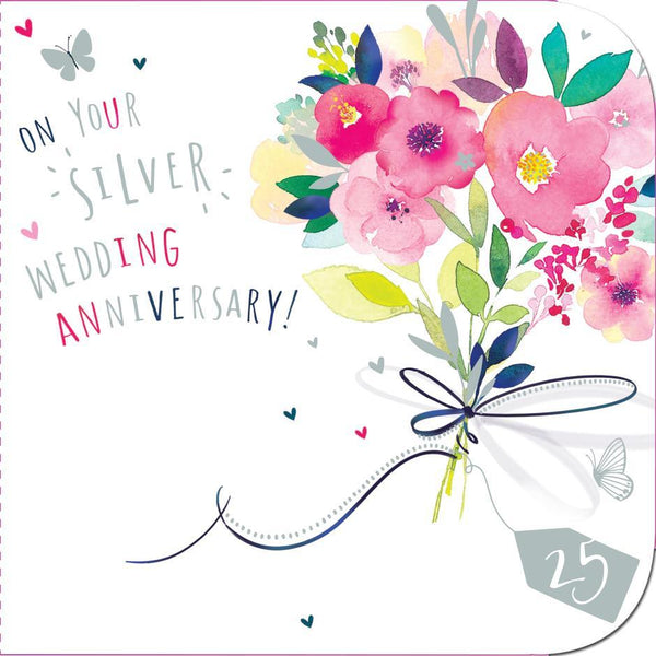 Anniversary Card - 25th Silver Anniversary - Pretty Peonies