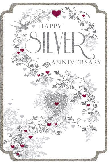 Anniversary Card - 25th Silver Anniversary - Swallow Lace