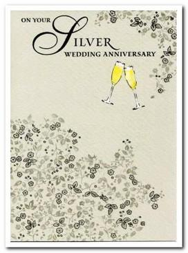 Anniversary Card - 25th Silver Anniversary - Champagne Flutes