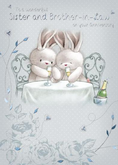 Anniversary Card - Sister and Brother-in-Law - Champagne Bunnies