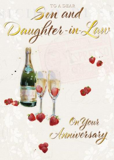 Anniversary Card - Son and Daughter-in-Law Anniversary - Champagne and Strawberries