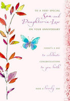 Anniversary Card - Son and Daughter-in-Law Anniversary - Butterflies And Branch