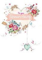 Anniversary Card - Your Anniversary - Love Birds With Hanging Heart
