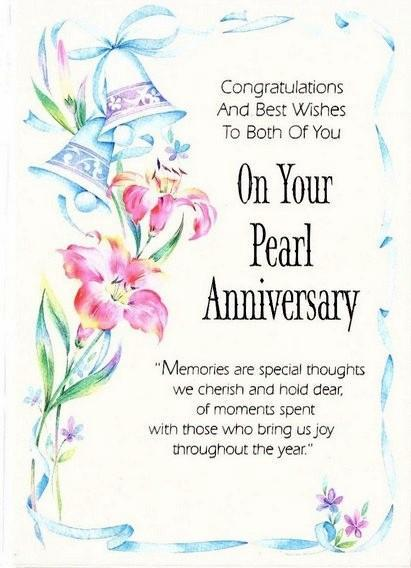 Anniversary Card - 30th Pearl Anniversary - Wedding Bells & Lilies