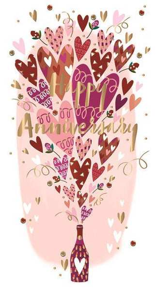 Anniversary Card - Your Anniversary - Hearts Bursting From Bottle