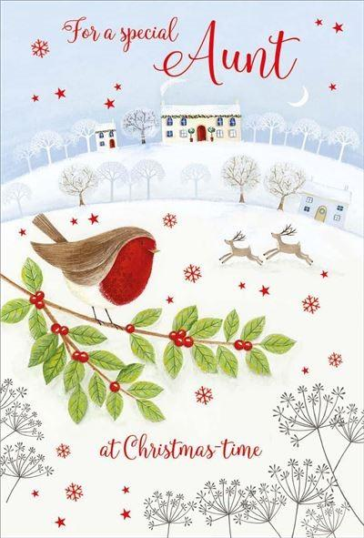 Christmas Card - Aunt - Robin/House