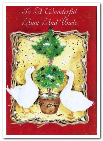 Christmas Card - Aunt and Uncle  - Topiary Tree