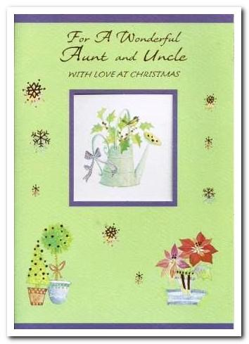 Christmas Card - Aunt and Uncle - Holly In Watering Can