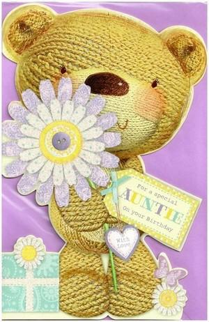 Auntie Birthday - Cute Button Bear