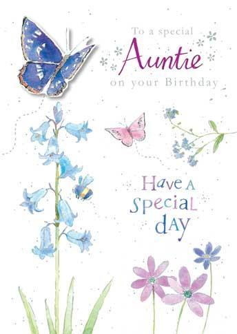 Auntie Birthday - Bluebells And Butterflies