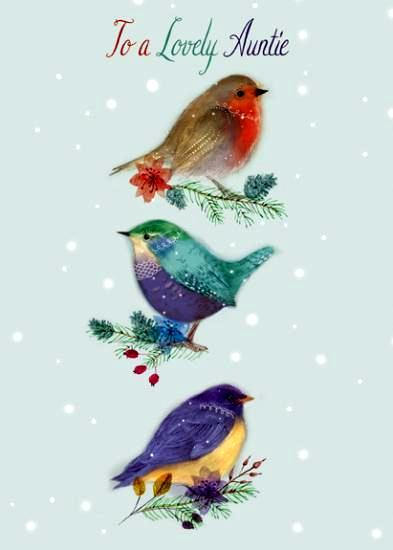 Christmas Card - Auntie - 3 Birds