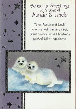 Christmas Card - Auntie and Uncle - Artic Otters In The Snow