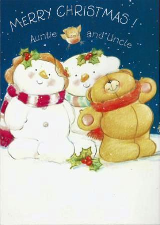 Christmas Card - Auntie and Uncle - Bears