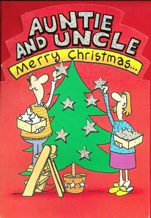 Christmas Card - Auntie and Uncle - Decorating The Tree