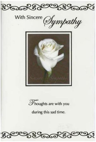 Sympathy Card - White Rose
