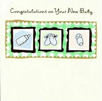 New Baby Card - Baby - Bottle, Booties, Nappy Pin