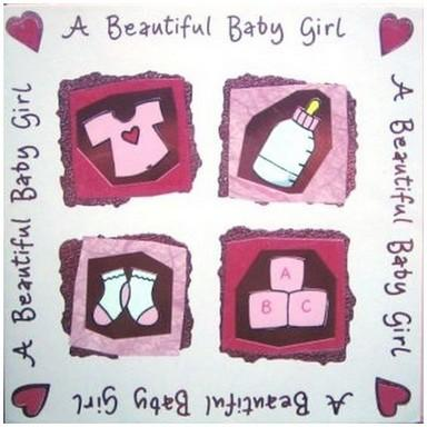 New Baby Card - Baby Girl - Pink Baby Icons