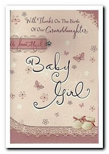 New Baby Card - Baby Granddaughter - With Thanks On The Birth Of Our Lovely Granddaughter