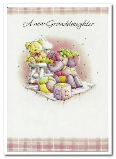 New Baby Card - Baby Granddaughter - Teddy and Toys