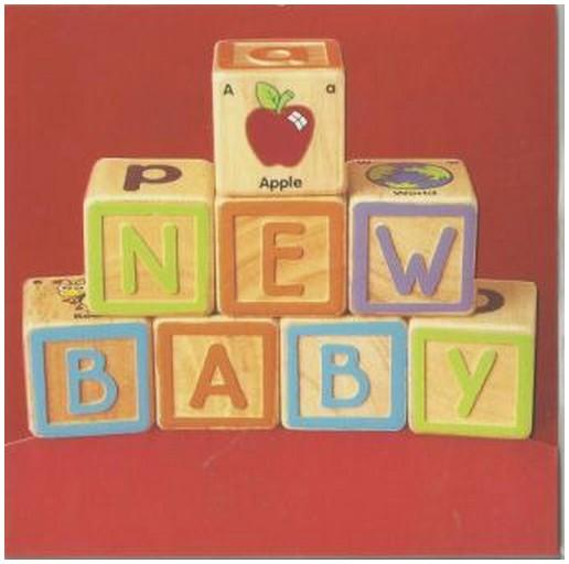 New Baby Card - Baby - Blocks Spelling A New Baby