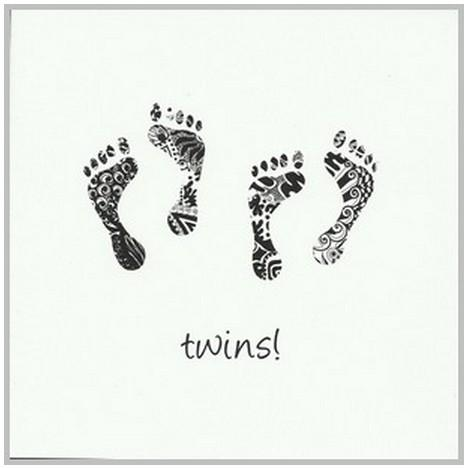 New Baby Card - Twins - 2 Sets Of Footprints