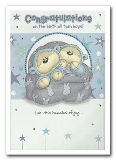 New Baby Card - Twins - Twin Boys