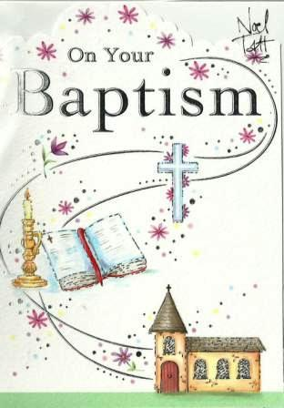 Christening Card - Your Baptism Church, Cross, Bible & Candle