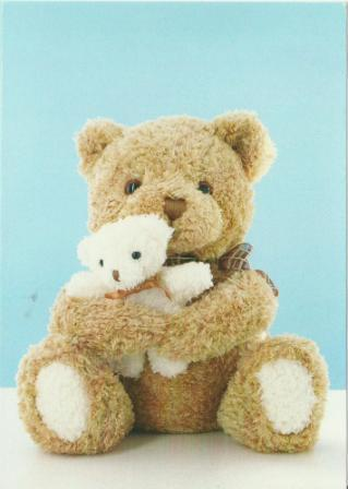 New Baby Card - Baby Boy - Blue Hugging Bears