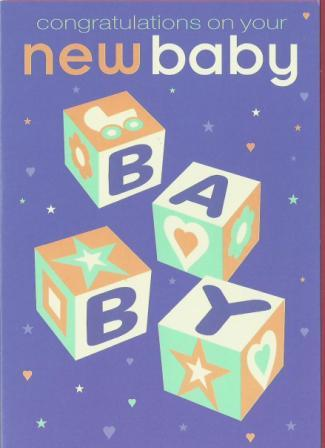 New Baby Card - Baby - Blocks spelling B A B Y
