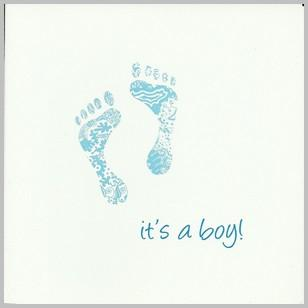 New Baby Card - Baby Boy - Blue Footprints It's a Boy!