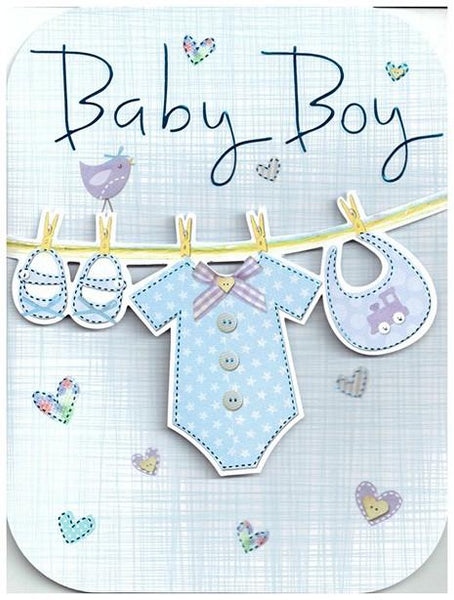 New Baby Card - Baby Boy - Boys Washing Line