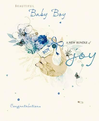 New Baby Card - Baby Boy - Basket