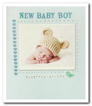 New Baby Card - Baby Boy - Hat With Bear Ears