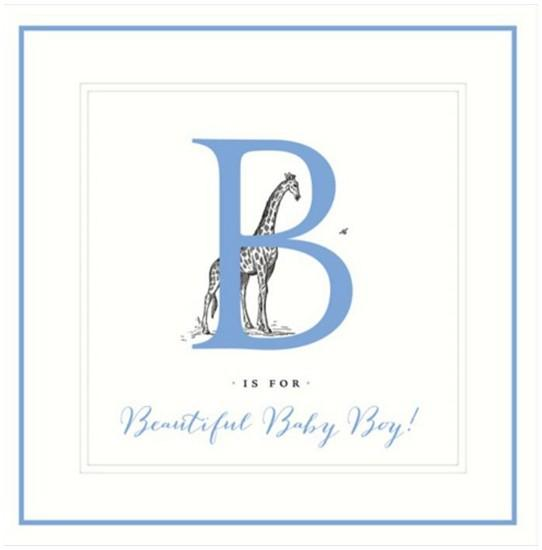 New Baby Card - Baby Boy - Giraffe Large B