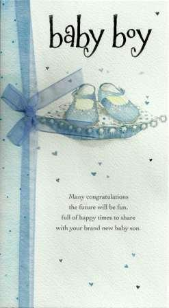 New Baby Card - Baby Boy - Blue Baby Shoes