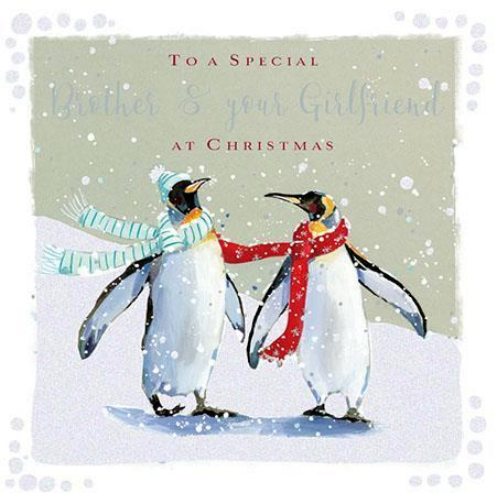 Christmas Card - Brother and Girlfriend - A Snowy Stroll