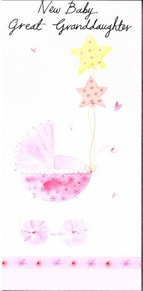 New Baby Card - Baby Great-Granddaughter - Pink Pram