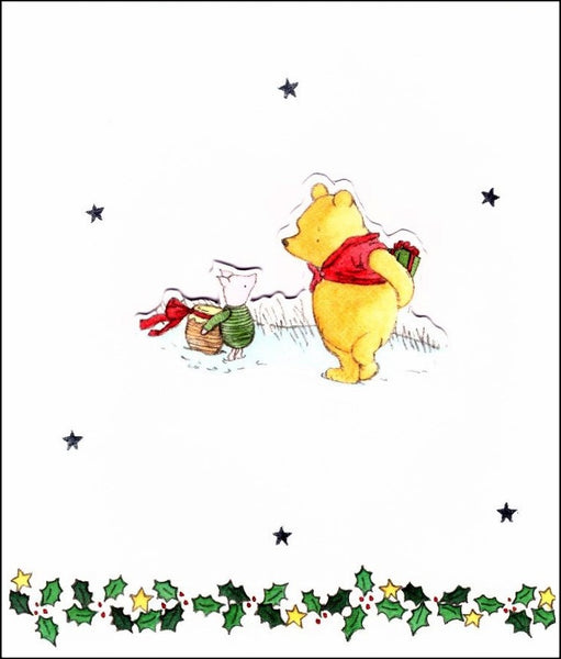 Christmas Card - Pooh & Piglet Exchanging Gifts