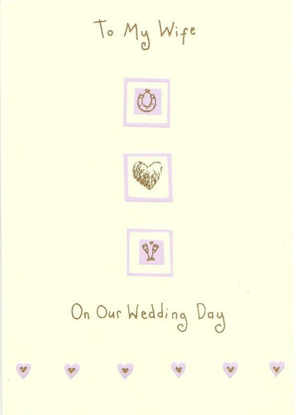 Wedding Card - Wife Horseshoe, Heart, Champagne