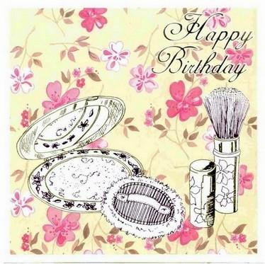Birthday Card - Makeup Compact and Brush