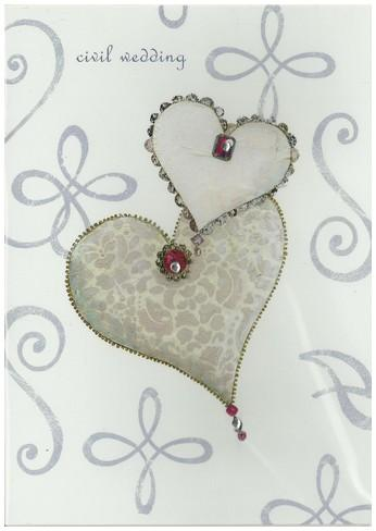 Commitment / Civil Partnership Card - Civil Wedding - Entwined Jewelled Hearts
