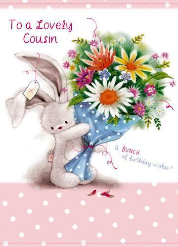 Cousin Birthday - Bunny & Bouquet